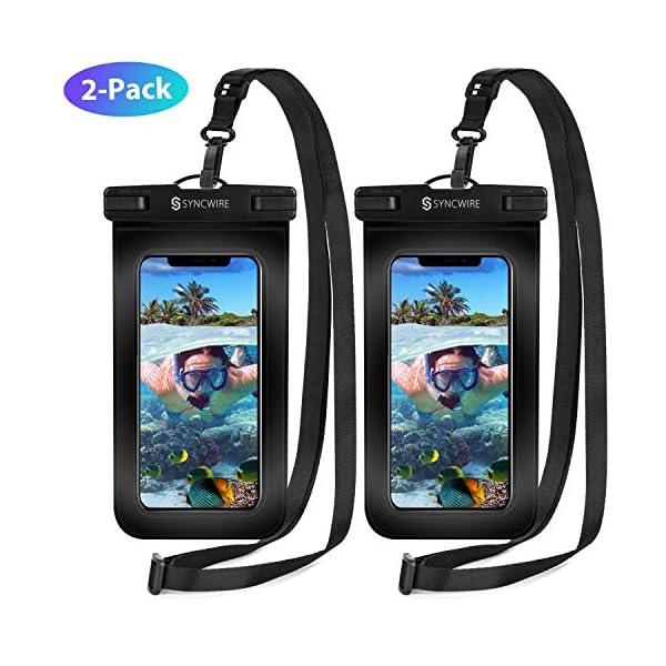 Syncwire Custodia Impermeabile Smartphone Borsa - 2 Pezzi 7 Pollici IPX8 Porta Cellulare Subacquea Universale con Cordino Regolabile Finestre ...