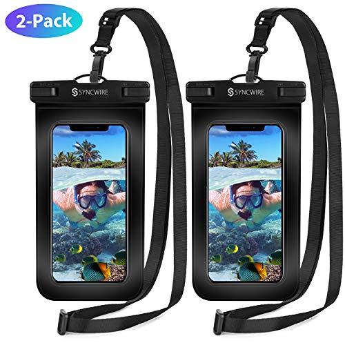 Syncwire wasserdichte Handyhülle Unterwasser Wasserfeste - 2 Stück 7 Zoll DOPPELT VERSIEGELT Wasserdicht Handy Hülle Handytasche für iPhone XS Max XR X 8 7 6+ Samsung S10 S9+ Huawei P30 Pro & mehr