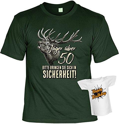 Cooles Geburtstagsgeschenk Leiberl für Männer T-Shirt Set mit Mini T-Shirt Jäger über 50 Bitte bringen Sie sich in Sicherheit! Leibal zum Geburtstag Dunkelgrün