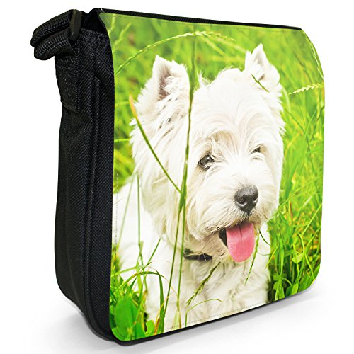 West Highland Terrier cane Piccolo Nero Tela Borsa a tracolla, taglia S West Highland Terrier In Grass