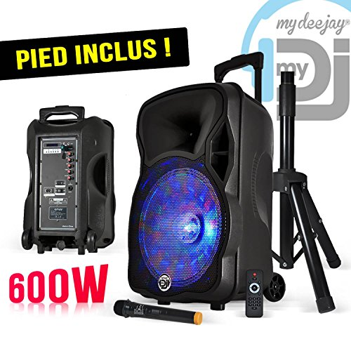 MY DEEJAY PACK MAGIK12 - Enceinte sono mobile LEDs RVB 600W 12