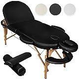TecTake Table de massage cosmetique lit de massage 3 zones reiki oval + accessoires - diverses couleurs au choix - (Noir | No. 400192)