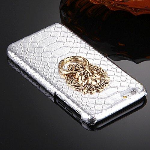 Phone case & Hülle Für iPhone 6 / 6s, Snakeskin Texture Paste Skin PC Schutzhülle mit Löwenkopf Halter ( Color : Black ) Silver