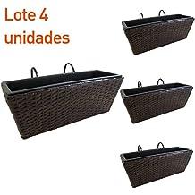 Pack 4 jardineras para balcón rectangular en color marrón - Portes gratis