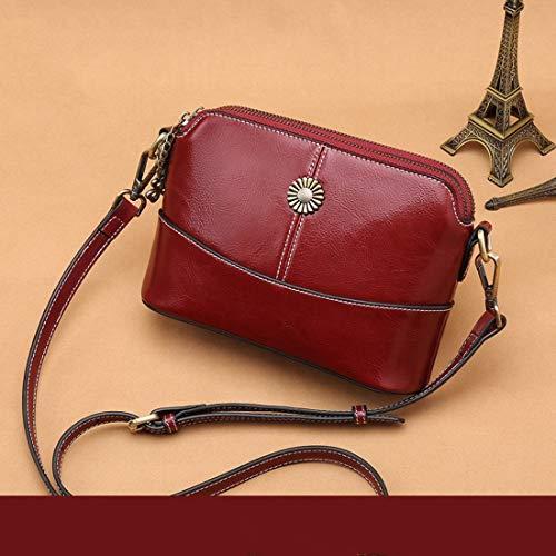 Uzanesx Echtes Leder Frauen Clutch Crossbody Tasche Handtasche Tote Schulter Umhängetasche für Frauen (Color : Red)