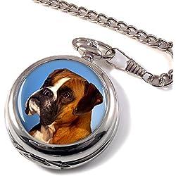 Boxer Dog Full Hunter Pocket Watch