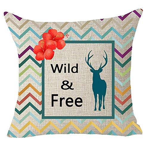 Free-throw-kissen (Lounayy Kissen Nordic Geometry Colored Wave Wild Basic Mode and Free Animal Elk Deer Red Morning Glory Throw Pillow Cover Cushion Case Cotton Linen Material Decorative 18 X 18 Inches)