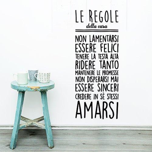 wall art 01312 Adesivo murale Aforisma -Le Regole della casa - Misure 47x120 cm - Nero - Decorazione Parete, Adesivi per Muro, Carta da Parati