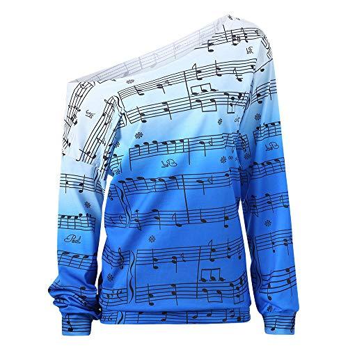 - Kragen, Ab Schulter Baumwolle (Langarmshirt Damen Bluse FGHYH Frauen kalt ab Schulter Hinweis drucken Langarm Pullover Shirt Top Bluse(L, Blau))
