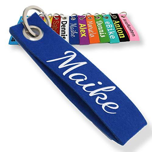 Schlüsselanhänger aus Filz mit Namen, Personalisiertes Schlüsselband Geschenkidee mit Aufschrift oder Wunschtext, Glücksbringer Filzanhänger mit Name, Geburtstag, Weihnachtsgeschenk (Dunkelblau) - Personalisierte Schlüsselanhänger
