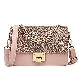 Maod Mode Umhängetasche Mädchen Taschen Damen Schultertasche leder Handtasche klein Damenhandtasche Metallgriff Henkeltasche Abendhandtasche (Rosa)