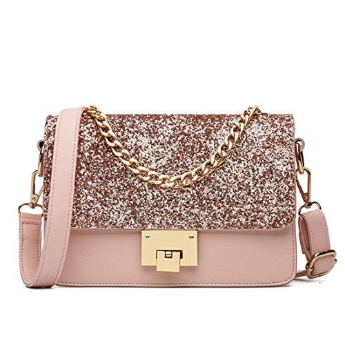 Maod Mode Umhängetasche Damen schultertasche leder handtasche klein henkeltasche Metallgriff Abendhandtasche (Rosa)