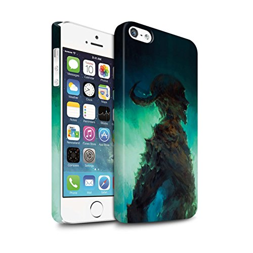 Offiziell Chris Cold Hülle / Matte Snap-On Case für Apple iPhone SE / Dramargu/Vollmond Muster / Dämonisches Tier Kollektion Gehörnter Dämon