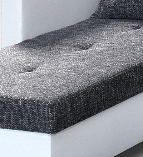 Sofa Couch Ecksofa Eckcouch Sofagarnitur in weiss / graubraun - Lissabon 2- R - 3
