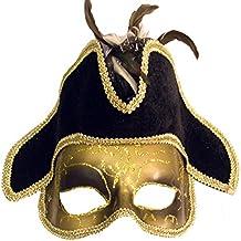 EL CARNAVAL Máscara Veneciana Dorada con Sombrero Negro 7637d2ec764