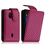 Seluxion - Housse coque etui gaufré pour Sony Ericsson Xperia Mini Pro (SK17i) couleur rose fushia