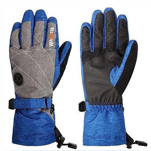 Guanti Invernali da Uomo in Pelle Gants D'hiver De Ski D'hiver Touchscreen Gants De Thicking Froid Proof Activités De Plein Air Gants (Color : Blue, Size : OneSize)