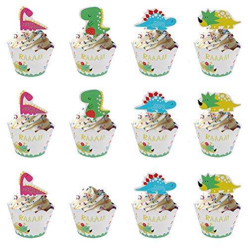 YeahiBaby 24 Stücke Dinosaurier Cupcake Wrapper Picks DIY dekorative Cartoon Kuchen Topper für Home Party Decor Weihnachten Party Gefälligkeiten