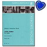 6 Suiten von Johann Sebastian Bach (für Violoncello) für Viola bearbeitet - Noten klassischer Komponisten mit herzförmiger Notenklammer