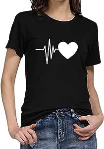 Femmes Filles Montrez votre amour à vous Imprimer T-shirt Décontractée Tee shirt manches courtes Chemisier Hauts LianMengMVP
