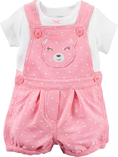 Carter's Girl 2-Piece White Tee & Pink Polka Dot Bear Shortalls Set (3 Months) by Carter's Polka Dot Tee-set