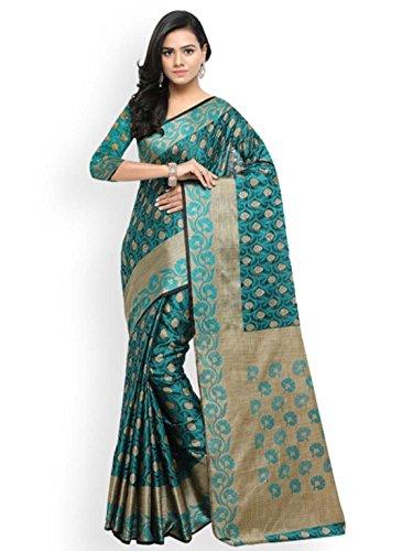 Teal Saree (Indian Handicrfats Export Lenora Teal Silk Cotton Woven Design Banarasi Saree)
