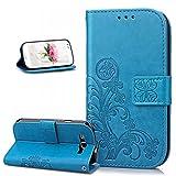 Kompatibel mit Galaxy S3 Neo Hülle,Galaxy S III Neo Hülle,Galaxy S3 Hülle,Prägung Klee Blumen PU Lederhülle Flip Hülle Cover Ständer Wallet Case Schutzhülle für Galaxy S3/S3 Neo,Klee Blumen:Blau