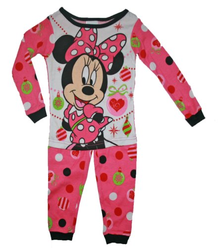 Mädchen Schlafanzug Zweiteiler (Disney Minnie Maus Schlafanzug 80/86 Zweiteiler Weihnachten US Size 3 t pink Mädchen)