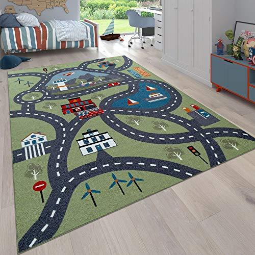 Paco Home Kinderteppich Spielteppich Bunt Stadt Motiv Autos Feuerwehr Polizei Robust, Grösse:160x220 cm
