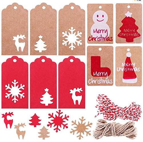 200 etiquetas de regalo de Navidad, etiquetas para colgar en el árbol de Navidad, etiquetas de papel kraft para decoración de Navidad, 2 unidades de 10 m de cuerda para colgar