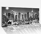 Acrylglasbild 100x40cm schwarz weiß Skyline New York Stydt USA Acrylbild Acryl Druck Acrylglas Acrylglasbilder 14A8317, Acrylglas Größe1:100cmx40cm