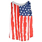 AiSi Damen Vintage Design USA Flaggen Muster T-Shirts, Stars and Stripes, T-Shirt mit USA Flagge L