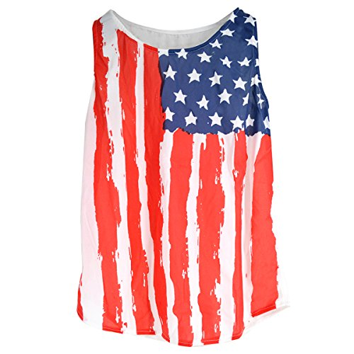 AiSi Damen Vintage Design USA Flaggen Muster T-Shirts, Stars and Stripes, T-Shirt mit USA Flagge XXXL (Stripes-flagge And Stars)