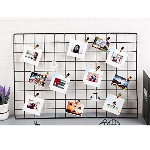 Bulary DIY Grid-Foto-Wand, Gitter-Panel Gitter-Mesh-Display, Wall Mounted Wand Kunst Display Organizer, Memo Board Eisen Rack Clip Foto Wandbehang Bild Wand