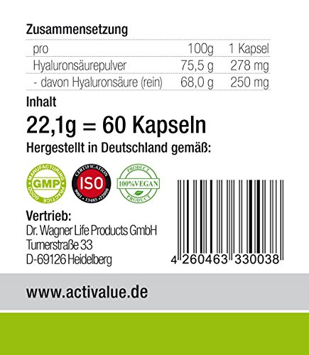 Der VERGLEICHSSIEGER bei vergleich.org 2017 zum AKTIONSPREIS: Hyaluronsäure Kapseln MICRO-MOLECULAR 500-700 kDa | das ORIGINAL von Dr.med. Wagner in deutscher Premium-Qualität | EXTRA HOCHDOSIERT mit 250mg reiner Hyaluronsäure pro Kapsel und HOHE BIOVERFÜGBARKEIT, da ohne Magnesiumstearat | 100% vegan | AKTIONSPREIS! - 5