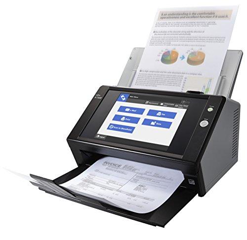 Fujitsu N7100 Touchscreen Netzwerkscanner (600x600 DPI) mit 25 Seiten pro Minute/50 Blatt Dokumenteneizug/Gigabit LAN Schnittstelle (Fujitsu N7100)