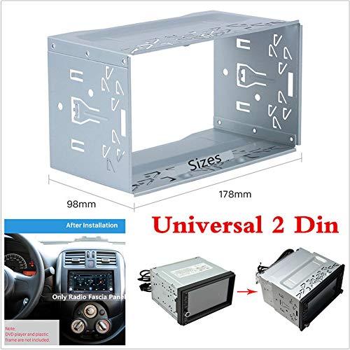 General DVD Einbaubox Metall Durable Stereo Radio Rahmen Doppel 2 DIN Radio Panel Montage Käfig Rahmen Free Size silber -