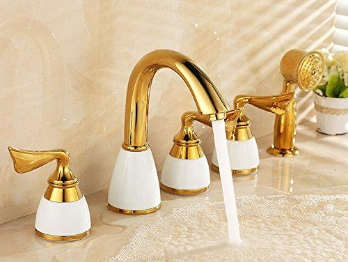 Tourmeler oro miscelatore per vasca da bagno doccia quadrato hotel in ottone dorato rubinetto vasca da bagno con doccetta in ottone ceramica bf999