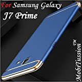 Samsung Galaxy J7 Prime Cover Blue With Gold [MobiTussion] Eventual Series New Luxury 360 Degree Protection 3in1 Back Cover Case For Samsung J7 Prime Back Cover Case (Blue With Gold)