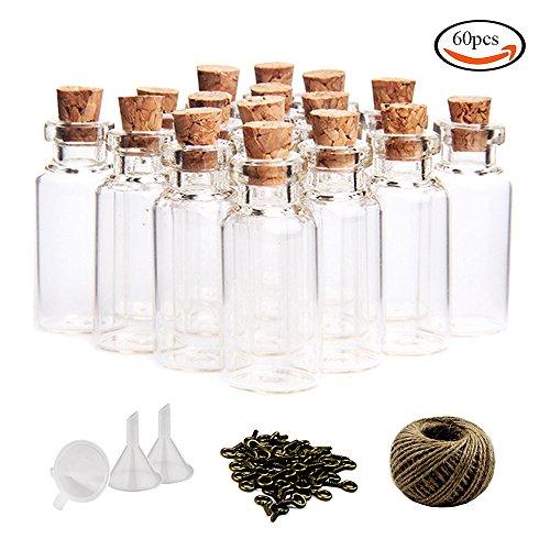 Whonline 60piezas 10ml Mini Botellas de Cristal Botellas de Vidrio C