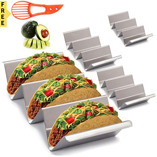 Tacos Halter 4 Edelstahl Taco-Halter Ständer mit Griff Ein Taco-Halter, der sicher für Backen, Grill und Spülmaschine ist. Ewovations Taco Tabletts
