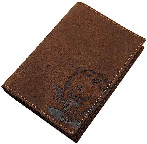 Porta carte d'identità pelle die bufalo con cervo-, cinghiale o pesce motivo in marrone (Cinghiale motivo)