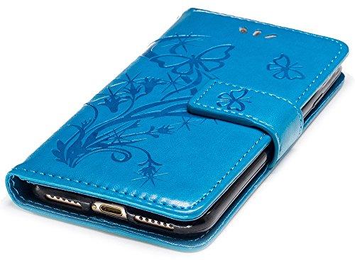 Iphone 7 Coque silicone, Iphone 7 Accessoire, Coque Iphone 7 silicone, Nnopbeclik® Mode Wallet/Portefeuille en Bonne Qualité PU Cuir Housse (4.7 Pouce) Papillon et Fleur de Gaufrage Style Motif + Band bleu