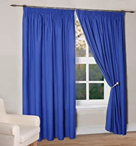 Simply Style Madison Blue Thermal Backed Readymade Curtain Pair 46x54in(116x137cm)