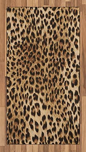 ABAKUHAUS Estampado de Leopardo Alfombra de Área, Piel de Animal Salvaje, Tejido Durable Decoración para Cualquier Ambiente, 80 x 150 cm, Marrón pálido Negro