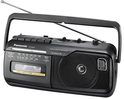 Panasonic RX-M40DE-K Mono Radio Recorder mit Kassettendeck, Netz- oder Batteriebetrieb schwarz