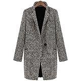 Mujeres ,Ice ReBser Mujeres Slim invierno cálida lana solapa abrigo largo trinchera abrigo PARKA Chaqueta Outwear (XL, Negro)