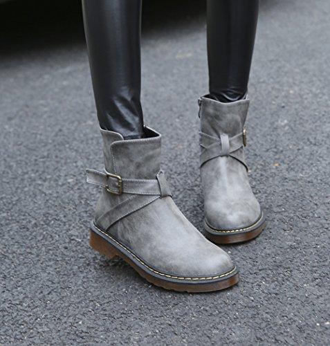 Wealsex Bottes Courtes Cuir Plate Fermeture éclair Brides Talon Bloc Bottes cheville Classiques Doublure Chaude Boots Martin Grande Taille 40 41 42 43 Femme Gris