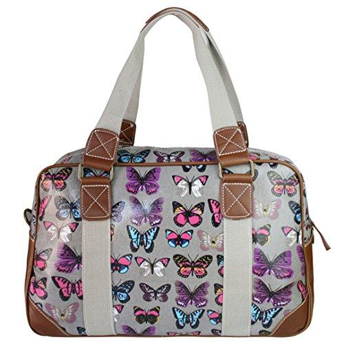 Miss Lulu , Damen Tote-Tasche Schmetterling Grau
