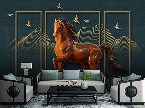 e Größe Kreative 3D Geprägte Pferd Bildschirm Hintergrund Wand Wandaufkleber Ausgangsdekor Tapete Wandbild ()